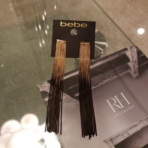 NWT- Bebe black and gold statement earrings